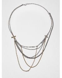 Bing Bang - Metallic Mixed Chain Cross Bib Necklace - Lyst
