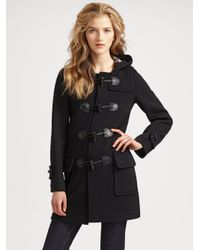 Burberry Brit | Black Wool Duffle Coat | Lyst