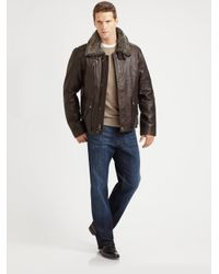 Cole Haan - Brown Tumbled Leather Bomber Jacket for Men - Lyst