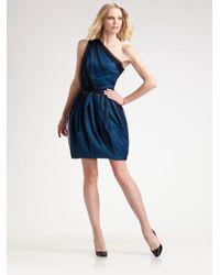 David Meister - Blue One Shoulder Party Dress - Lyst