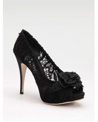 Dolce & Gabbana | Black Lace Platform Pumps | Lyst