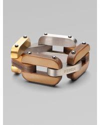 Fendi | Metallic Calfskin Link Bracelet | Lyst