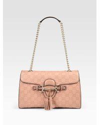 a95049a8b6b57a Gucci Emily Medium Shoulder Bag in Pink - Lyst