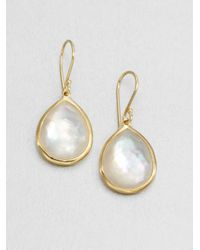 Ippolita | White Rock Candy Gelato Mother-of-pearl, Clear Quartz & 18k Yellow Gold Medium Doublet Teardrop Earrin | Lyst