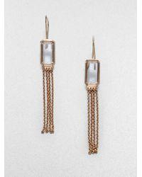 Ippolita - Pink Rosé Medium Square Clear Quartz Chain Earrings - Lyst
