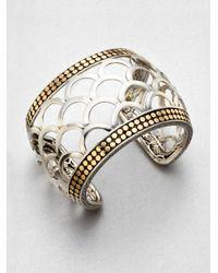 John Hardy | Metallic 18k Gold Sterling Silver Scaled Wide Cuff Bracelet for Men | Lyst