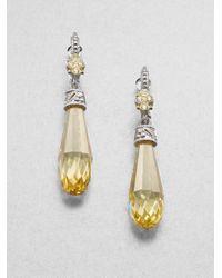 Judith Ripka | Yellow Semiprecious Multistone Estate Briolette Drop Earrings | Lyst