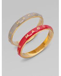 Marc By Marc Jacobs - Gray Enamel Logo Bracelet - Lyst