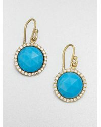 Mija | Blue Turquoise & White Sapphire Button Drop Earrings | Lyst