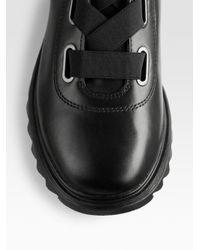 Prada - Black Leather Hiker Boots for Men - Lyst