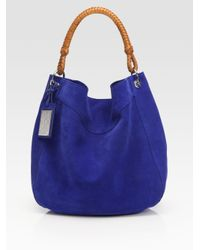 Ralph Lauren Collection | Blue Bohemian Suede Hobo | Lyst