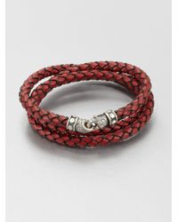 Scott Kay | Red Braided Leather And Sterling Silver Wrap Bracelet for Men | Lyst