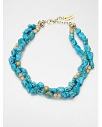 St. John - Blue Beaded Necklace - Lyst