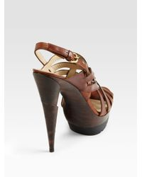 Stuart Weitzman | Brown Spray Crisscross Sandals | Lyst
