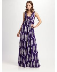 Tory Burch | Purple Petula Silk-georgette Maxi Dress | Lyst