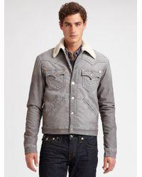 True Religion | Gray Corduroy Sherpa Jacket for Men | Lyst