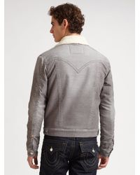 True Religion   Gray Corduroy Sherpa Jacket for Men   Lyst