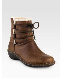 UGG | Black Sassari Leather & Suede Combat Boots | Lyst