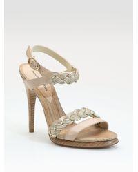 Alexandre Birman - Natural Braided Two-tone Platform Sandals - Lyst
