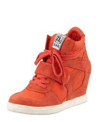 Ash | Orange Genial Canvas Wedge Sneakers | Lyst
