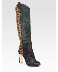B Brian Atwood - Multicolor Paradis Leopard Print Calf Hair Knee-high Boots - Lyst