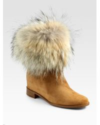 Christian Louboutin | Brown Mazurka Coyote Fur Suede Boots | Lyst