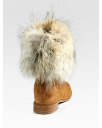 Christian Louboutin - Brown Mazurka Coyote Fur Suede Boots - Lyst