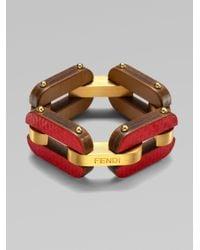 Fendi - Red Ayers Snake Calfskin Bracelet - Lyst