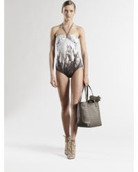 Gucci - Natural Saddlery Print Gathered Bandeau One-piece Swimsuit - Lyst