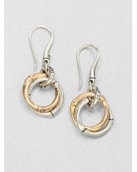John Hardy | Metallic 18k Gold Sterling Silver Interlocking Ring Drop Earrings | Lyst