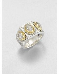 Konstantino | Metallic Sterling Silver 18k Gold Pavé Diamond Ring | Lyst
