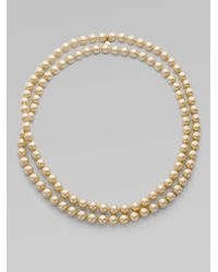 Majorica - Metallic 10mm Champagne Round Pearl Strand - Lyst