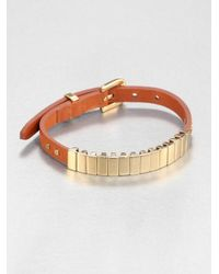 Michael Kors | Metallic Rectangular Slide Bead Leather Bracelet Goldtone | Lyst