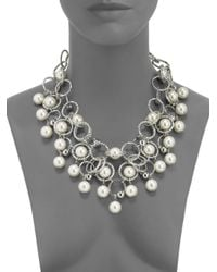 Boutique Moschino - Metallic Faux Pearl Hammered Circle Bib Necklace - Lyst