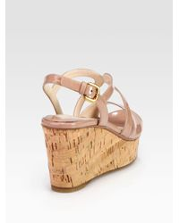 Prada | Natural Patent Leather and Cork Wedge Sandals | Lyst