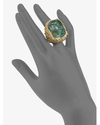 Saint Laurent | Green Shadow Broken Agate Ring | Lyst