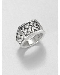 Scott Kay | Metallic Sterling Silver Matte Basketweave Ring for Men | Lyst