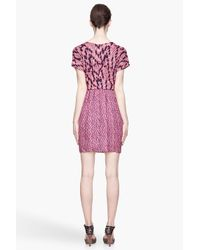 See By Chloé - Pink and Navy Blue Granit Print Crew Neck Mini Dress - Lyst