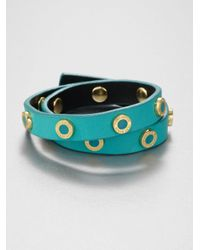 Tory Burch | Pink Riveted Double Wrap Leather Bracelet | Lyst