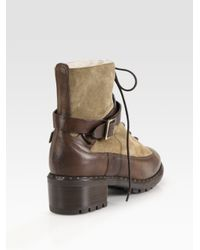 UGG - Green Sassari Leather & Suede Combat Boots - Lyst