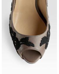 Valentino - Gray Peep Toe Pumps - Lyst