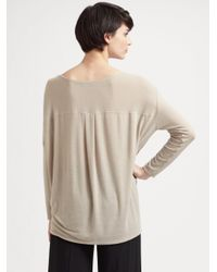 Vince | Gray Silk Mixed Media Top | Lyst
