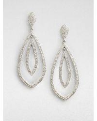 Adriana Orsini | Metallic Crystal Encrusted Double Teardrop Earrings | Lyst