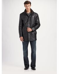 Andrew marc Sunday Driver Leather Car Coat in Black for Men | Lyst