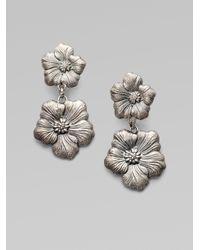 Buccellati - Metallic Blossom Sterling Silver Double Drop Earrings - Lyst