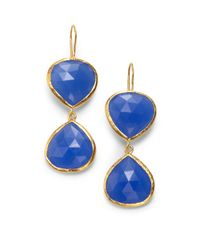 Coralia Leets | Metallic Double Stone Drop Earringsblue Chalcedony | Lyst