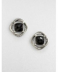 David Yurman | Faceted Sterling Silver Button Earringsblack Onyx | Lyst