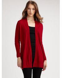 Eileen Fisher | Red Merino Wool Cardigan | Lyst
