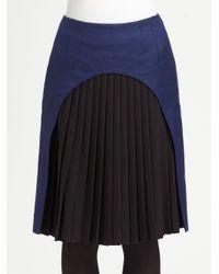 Fendi - Blue Pleated Inset Skirt - Lyst