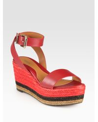 Fendi - Red Pequin Leather Ankle Strap Espadrille Wedge Sandals - Lyst